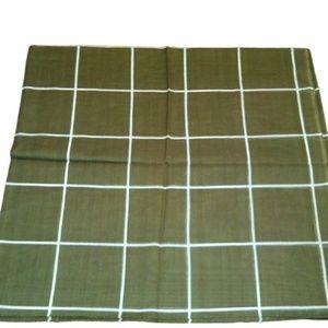 Cotton Khaki Green Plaid Square Scarf Tichel Hijab